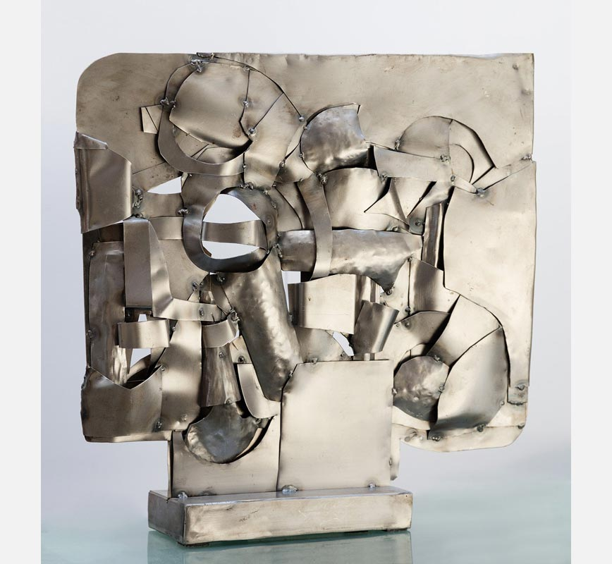 Abstract metal sculpture sculpture. Steel. Title: Quilted Landscape