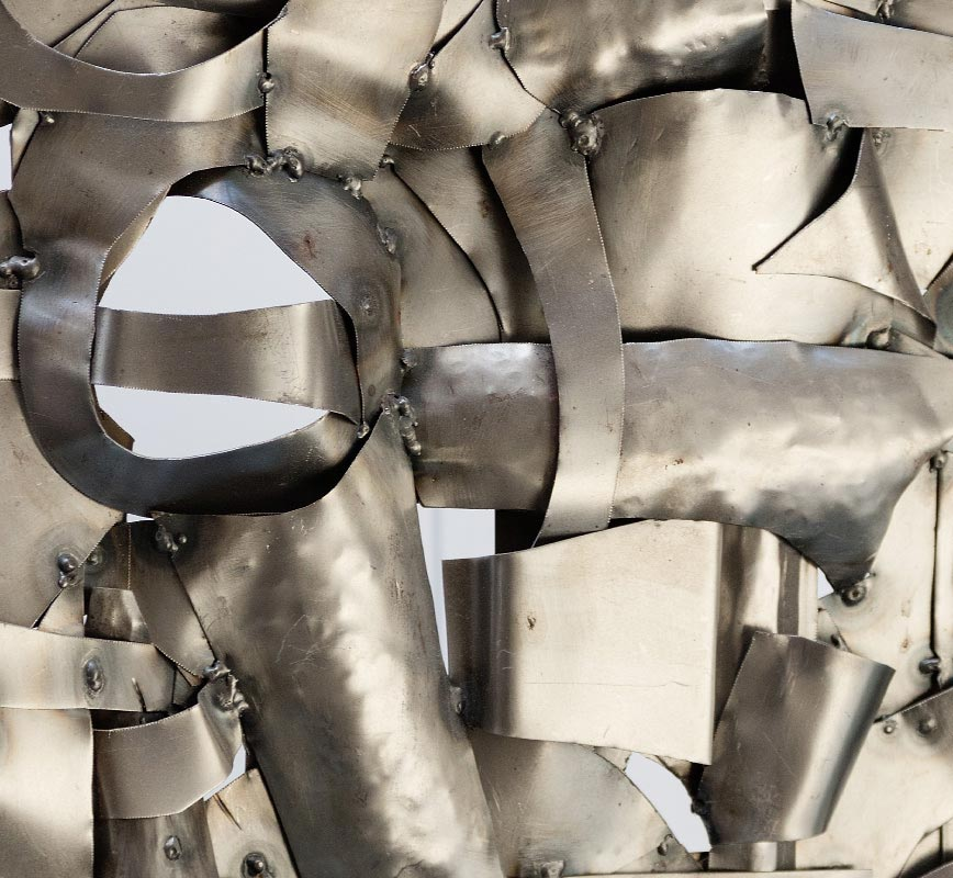 Detail of Abstract metal sculpture sculpture. Steel. Title: Quilted Landscape