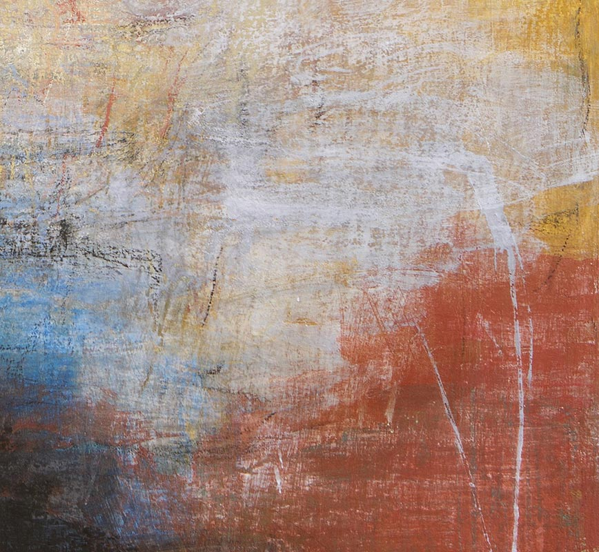 Detail of Abstract painting with reference to Pompeian frescoes. Mainly black, yellow, red and white colors. Title: Tempo Perso II