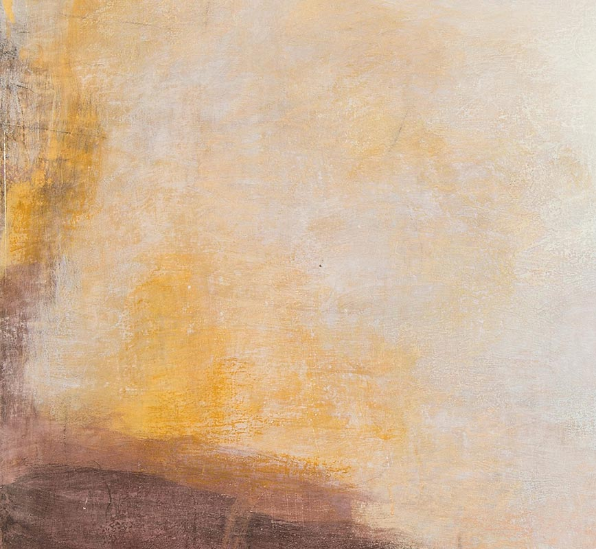 Detail of Abstract painting with reference to Pompeian frescoes. Mainly brown, yellow, red and white colors. Title: Terrae Etrusca