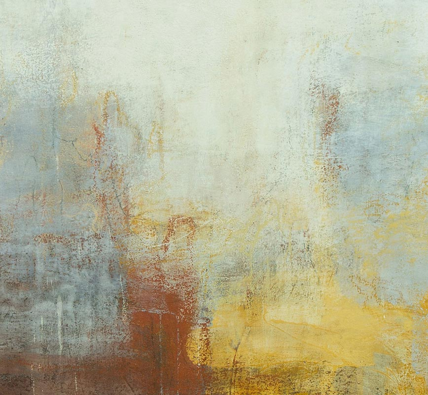 Detail of Abstract painting with reference to Pompeian frescoes. Mainly brown, yellow, red and white colors. Title: Sannio