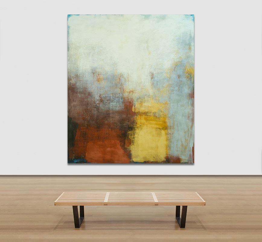 View in a Room of Abstract painting with reference to Pompeian frescoes. Mainly brown, yellow, red and white colors. Title: Sannio