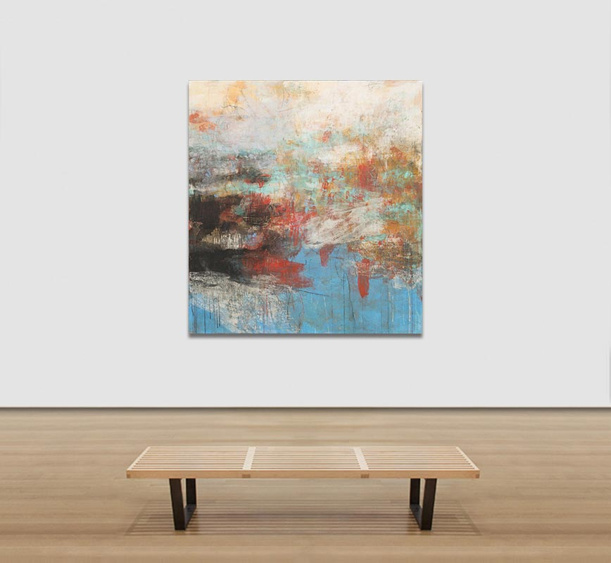 View in a Room of Abstract painting with reference to Pompeian frescoes. Mainly black, blue, red and white colors. Title: PV:MMX