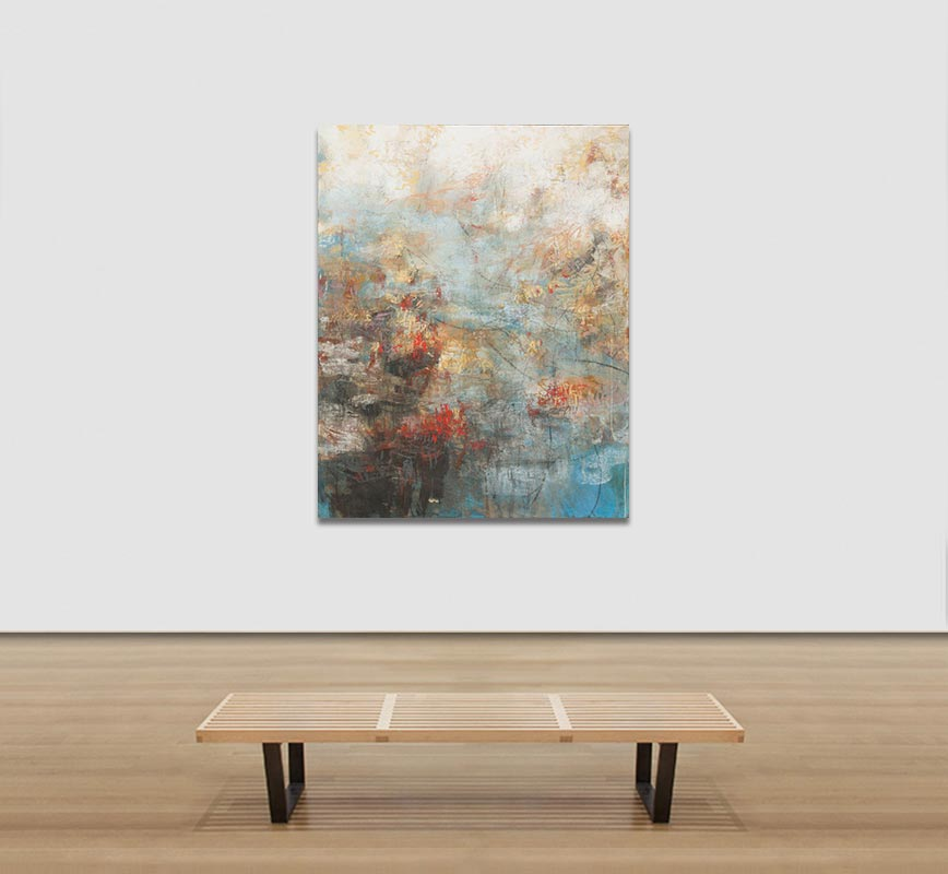 View in a Room of Abstract painting with reference to Pompeian frescoes. Mainly blue, red and white colors. Title: XII:MMIX