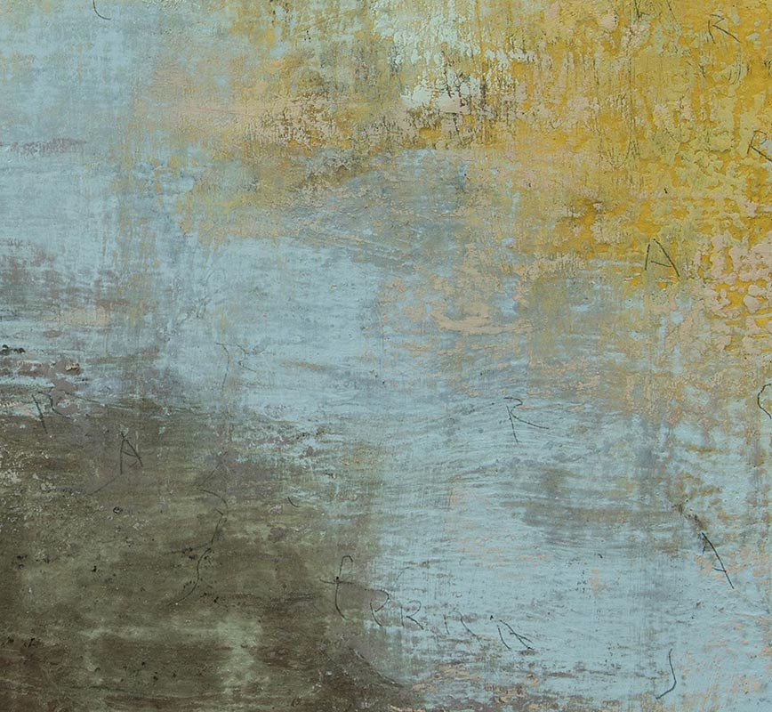 Detail of Abstract painting with reference to Pompeian frescoes. Mainly brown, yellow and green colors. Title: Terra-Ombre II (Earth-Shadows II)