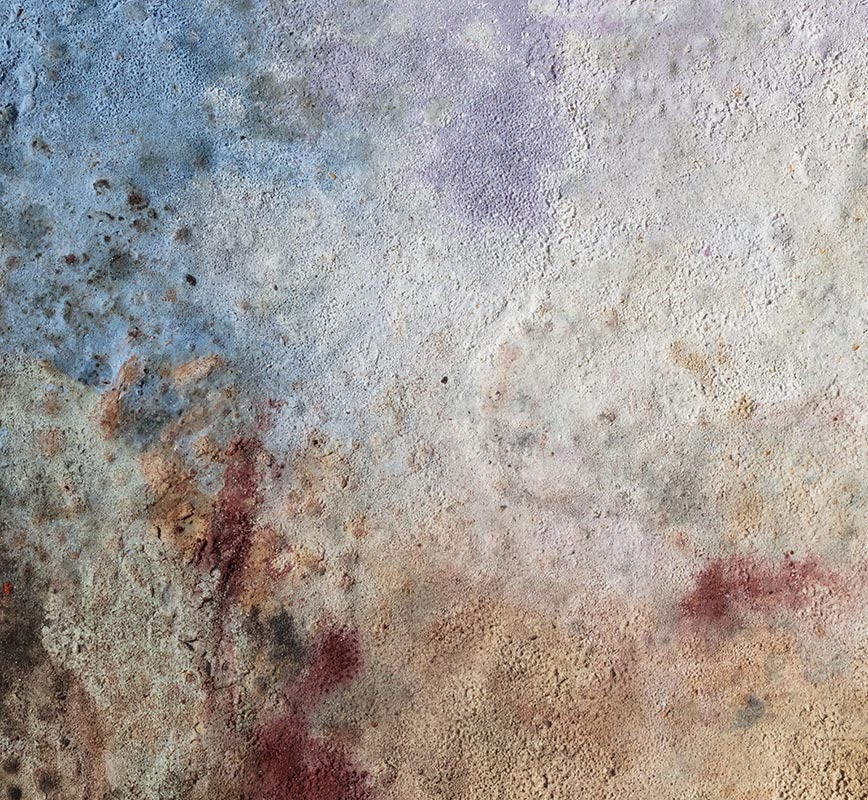 Abstract painting with reference to Pompeian frescoes. Mainly brown colors. Title: Terra Bruciata - Fine Estate I (Scorched Earth - Summer's End I)