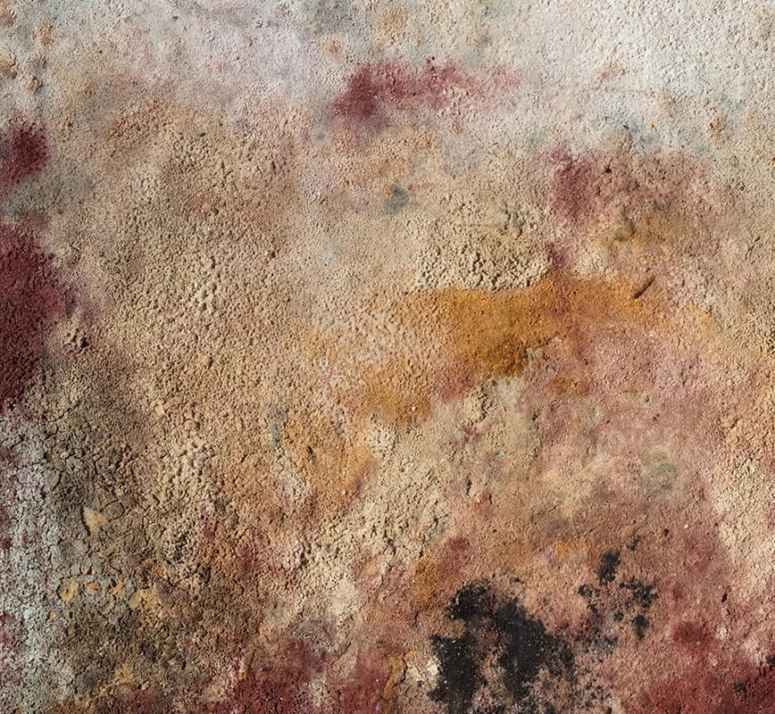Detail of Abstract painting with reference to Pompeian frescoes. Mainly brown colors. Title: Terra Bruciata - Fine Estate I (Scorched Earth - Summer's End I)