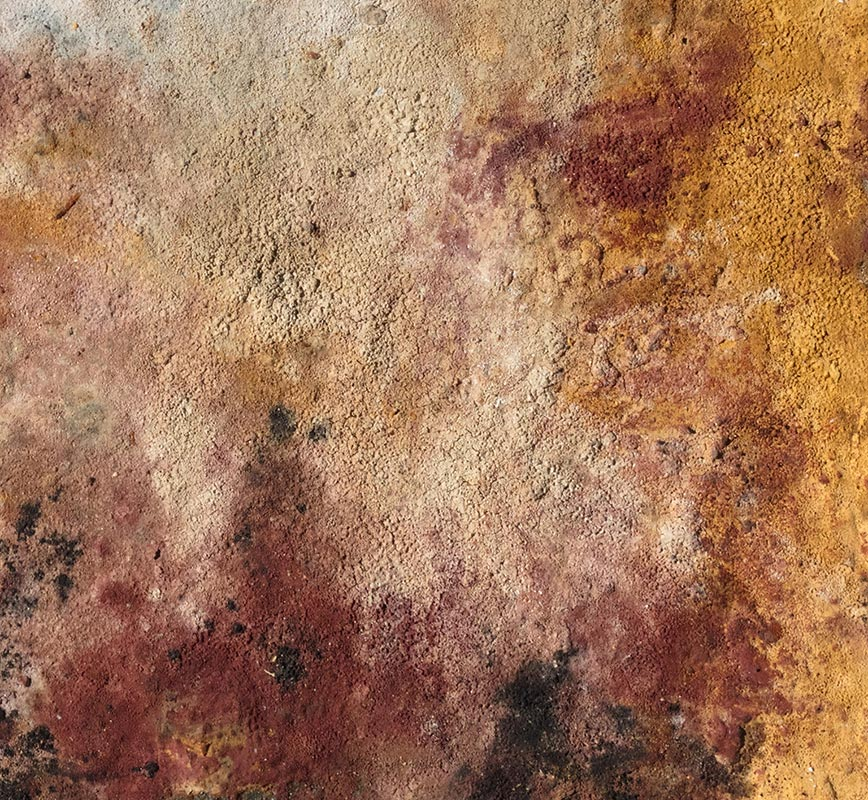 View in a Room of Abstract painting with reference to Pompeian frescoes. Mainly brown colors. Title: Terra Bruciata - Fine Estate I (Scorched Earth - Summer's End I)