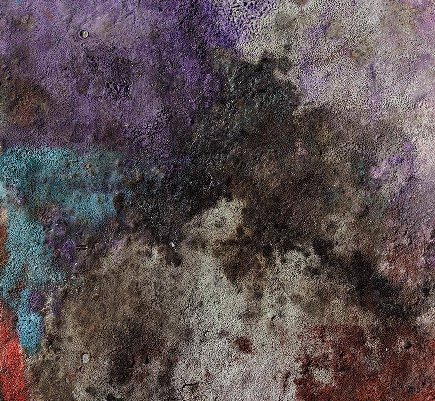 Detail of Abstract painting with reference to Pompeian frescoes. Mainly pink, green and blue colors. Title: Terra Bruciata - Fine Estate II (Scorched Earth - Summer's End II)
