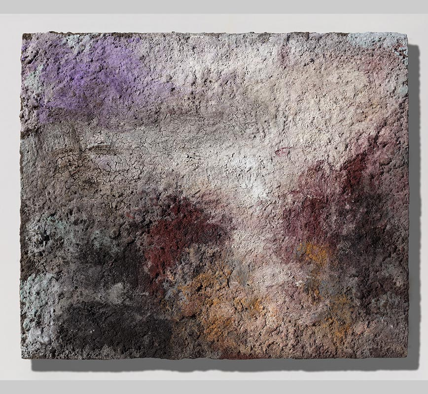 Abstract painting with reference to Pompeian frescoes. Mainly pink and blue colors. Title: Terra Bruciata (Scorched Earth)