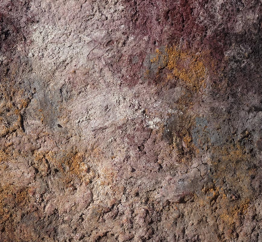 Detail of Abstract painting with reference to Pompeian frescoes. Mainly pink and blue colors. Title: Terra Bruciata (Scorched Earth)