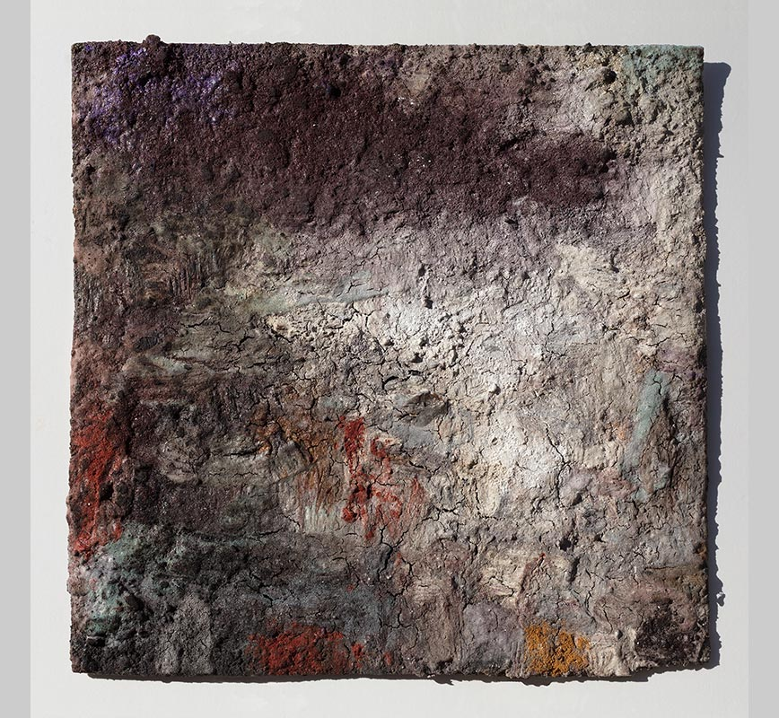 Abstract painting with reference to Pompeian frescoes. Mainly pink, grey and green colors. Title: Terra Bruciata (Scorched Earth)