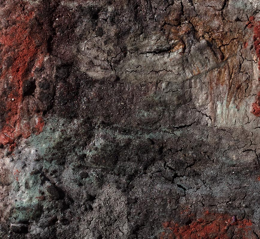 Detail of Abstract painting with reference to Pompeian frescoes. Mainly pink, grey and green colors. Title: Terra Bruciata (Scorched Earth)