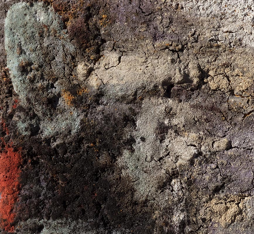Detail of Abstract painting with reference to Pompeian frescoes. Mainly orange, white, and black colors. Title: Terra Bruciata (Scorched Earth)