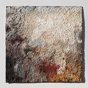 Abstract painting with reference to Pompeian frescoes. Mainly beige, white, and grey colors. Title: JTerra Bruciata (Scorched Earth)