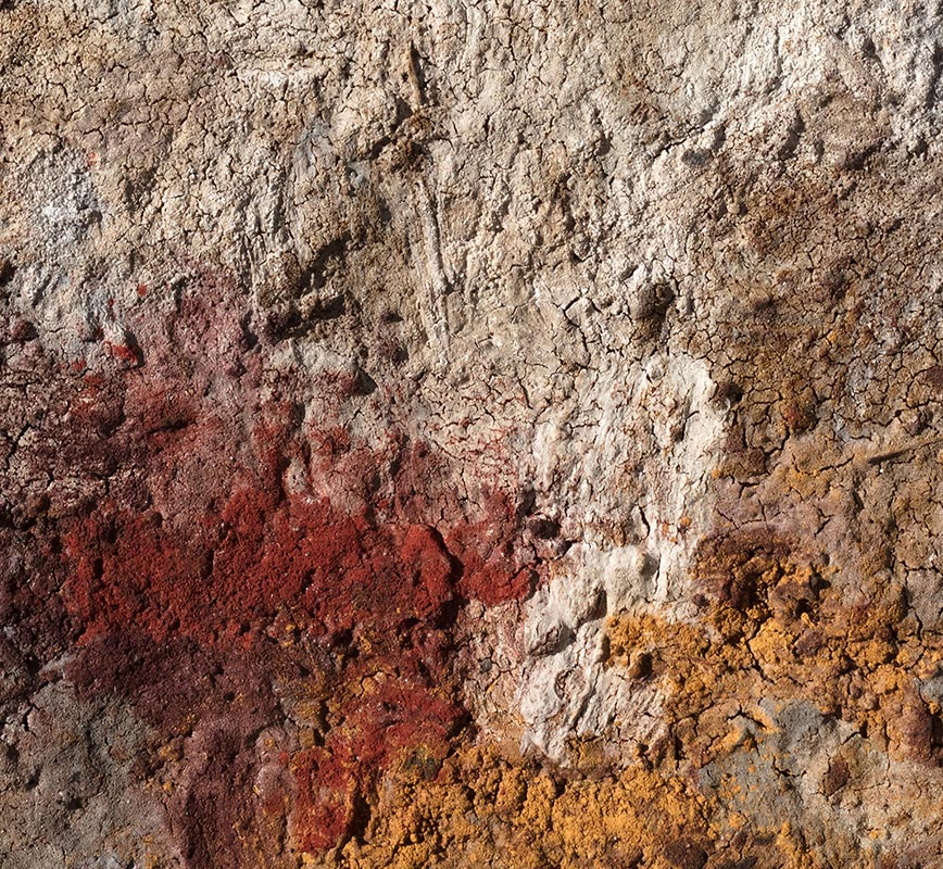 Detail of Abstract painting with reference to Pompeian frescoes. Mainly beige, white, and grey colors. Title: JTerra Bruciata (Scorched Earth)