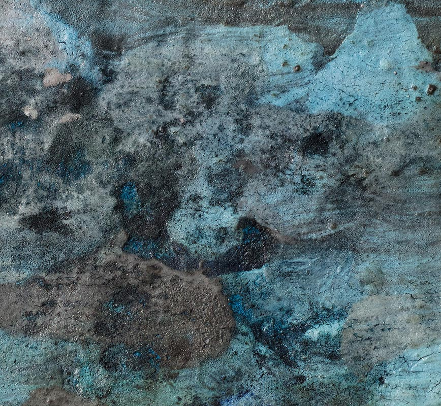 Detail of Abstract painting with reference to Pompeian frescoes. Mainly beige, white, and black colors. Title: Terra Bruciata (Scorched Earth)