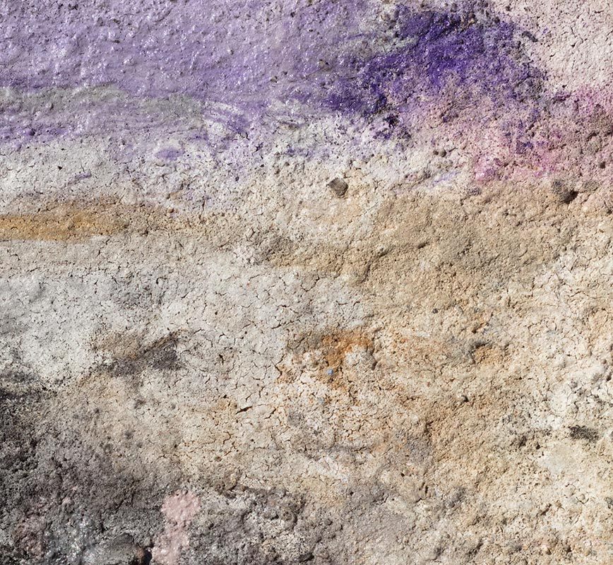 Detail of Abstract painting with reference to Pompeian frescoes.  Mainly beige, white, and black colors. Title: Terra Bruciata - Alba I (Scorched Earth - Dawn I)