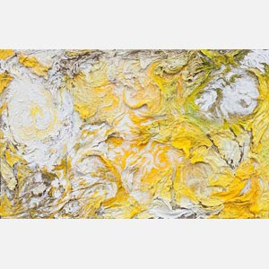 Abstract painting with reference to nature. Mainly yellow colors. Title: Horti Solis