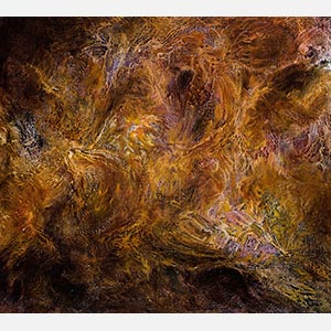Abstract textural painting with reference to nature. Mainly orange and rust colors. Title: Horti Cartae