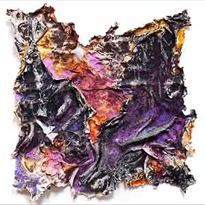 Abstract textural work on paper. Mainly purple colors. Ater et Indicus